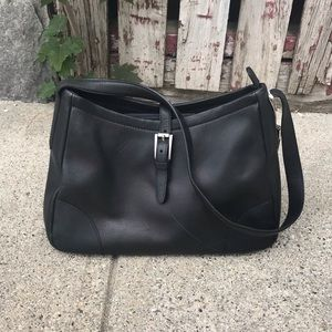 Vintage Leather Fossil Black Naples Flap Bag